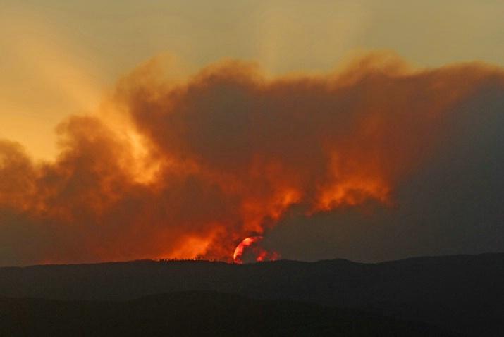 Sunset behind the Smoke Plumes