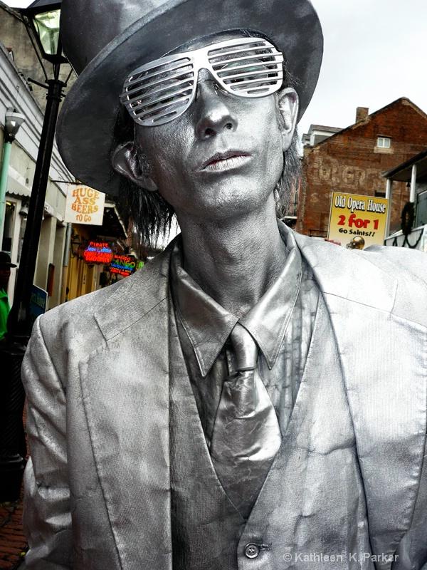 Silver Man, Bourbon Street Performer,  New Orleans