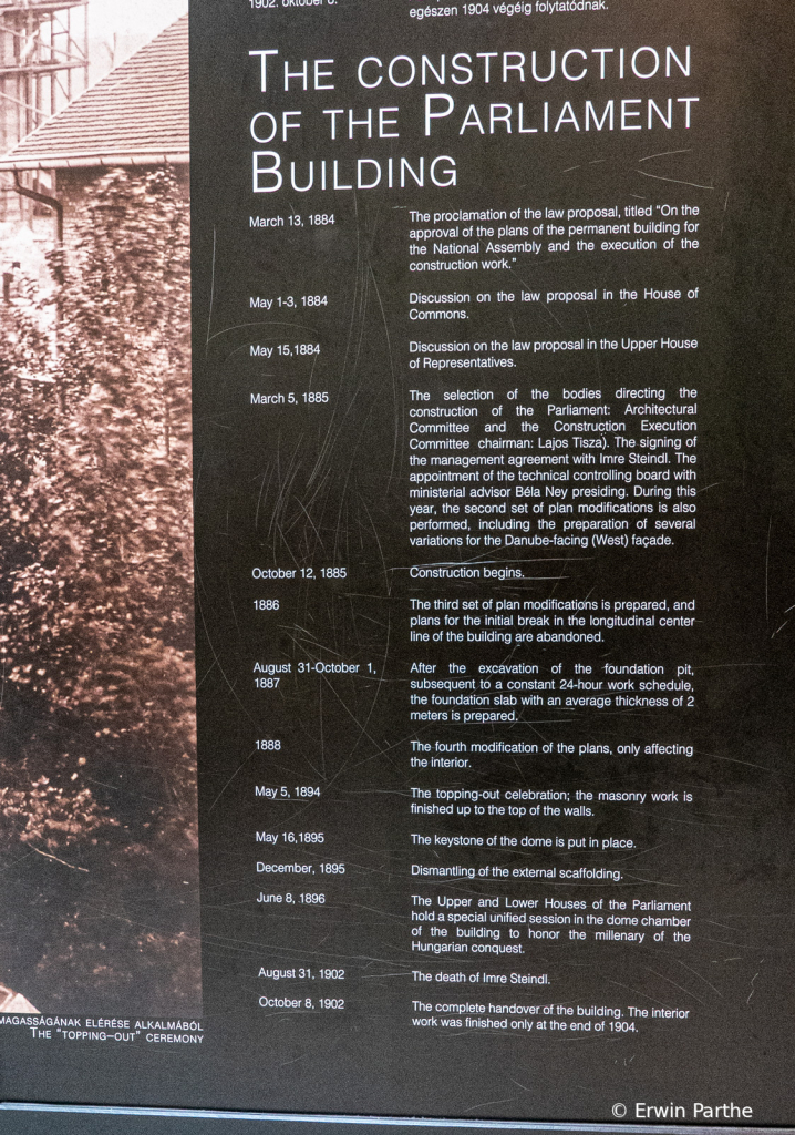 Dates showing the building process