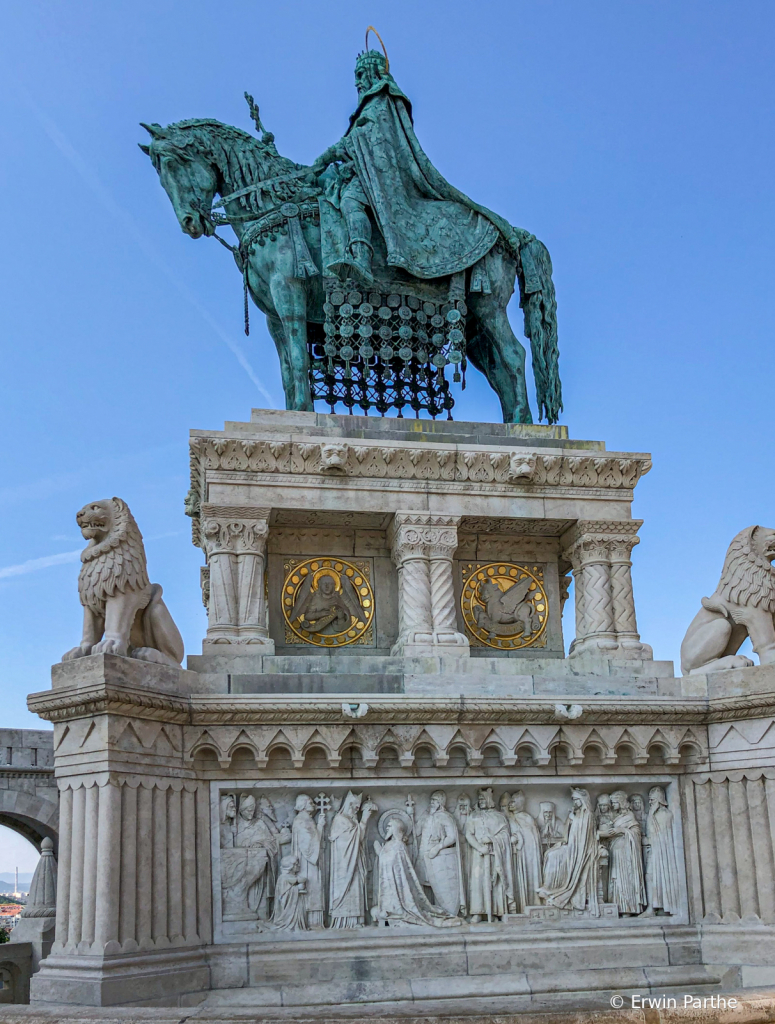The equestrian statue of king St.Stephen .