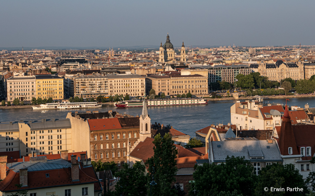 Golden hour photo of Budapest from the hill.