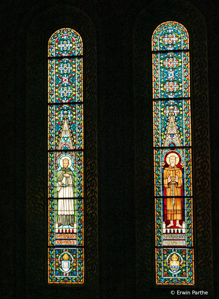stain glass windows in the Matthias church