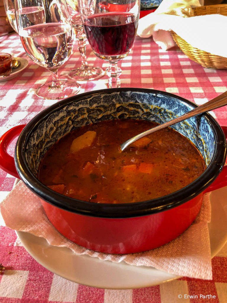 Lunch - Goulash with wine