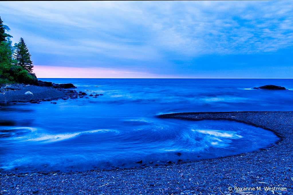 Water swirls on Lake Superior