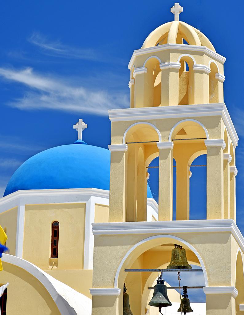 Church and belfry in a greek island.
