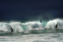 surfing at oceans