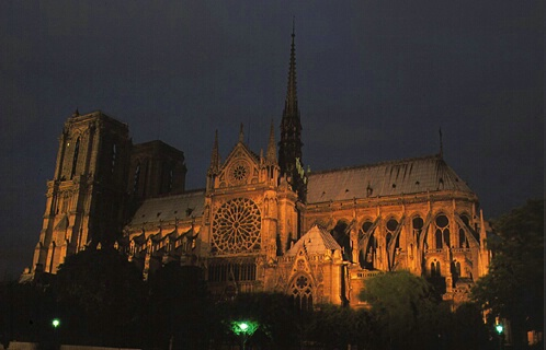 Notre Dame at Night - ID: 6232 © Jim Miotke