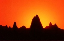 Sunset in Cappadocia Valley, Turkey.