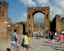 Tourists at Pompeii