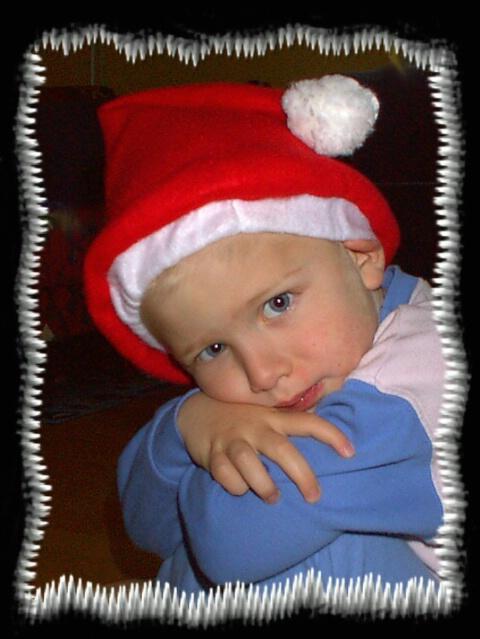My son Jonas (3), dressed for Christmas