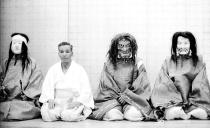 characters in a Noh drama, Hakata, Japan 1970