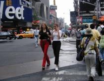 Crossing Times Square, Rainy