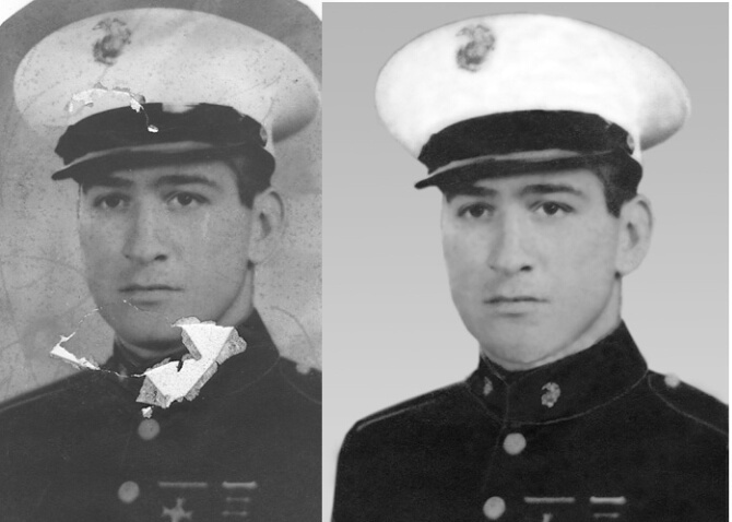 WWII Marine, before and after