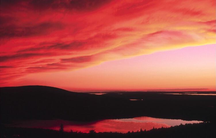Jordan Pond at sunset