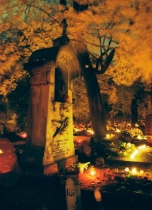 Candlelit cemetery