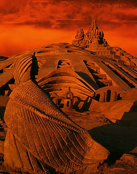 Sand Castle at Sunset