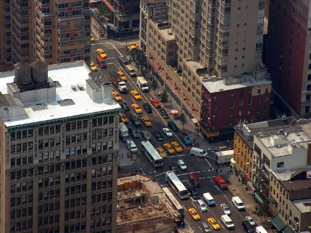 taxis below