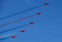Red Arrows climbing in formation