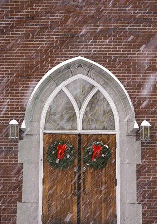 Church door in snow