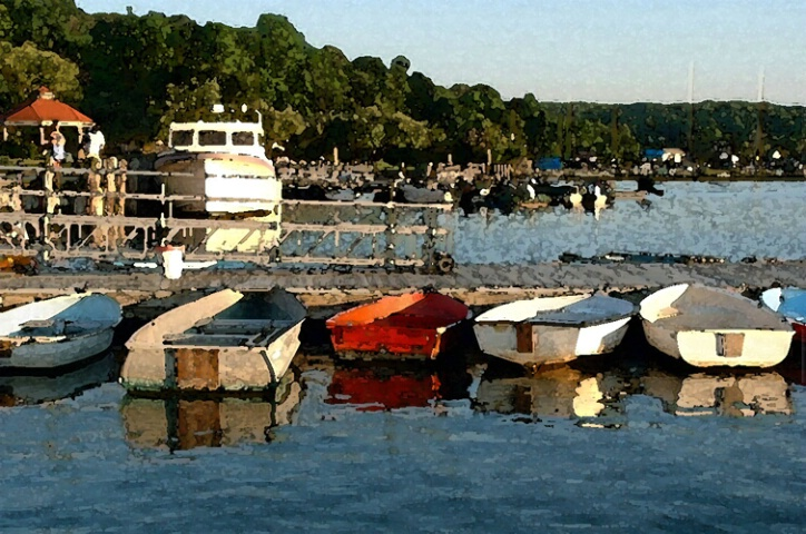 red boat in Northport Harbor