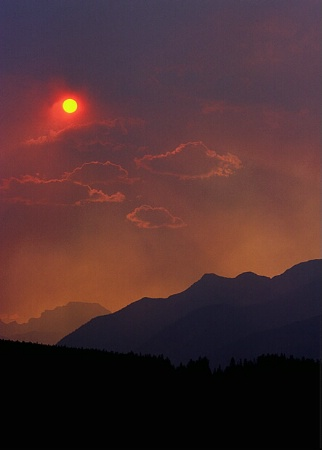 Smokey Sunset ~ Banff Springs