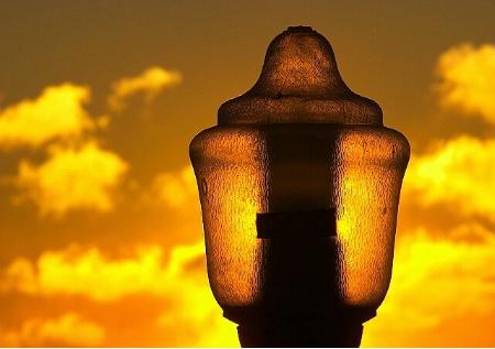 Sun Behind the Lamp Post