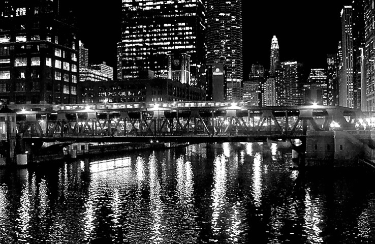 Chicago River View At Night