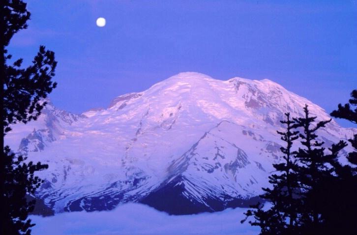 Mt. Rainier Sunrise/Moonset - ID: 647992 © Anne Hickey
