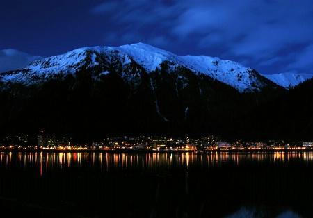 Juneau, Alaska at night
