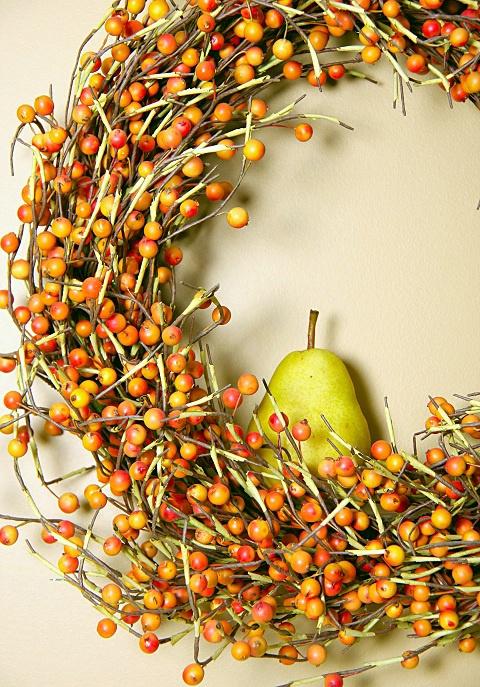 A Pear in a Berry Wreath