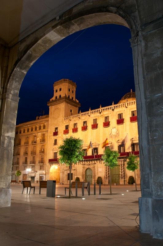 Town hall across plaza