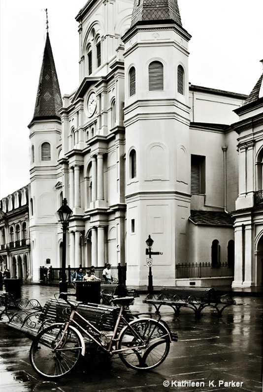 Bike in Rainy Jackson Square, New Orleans