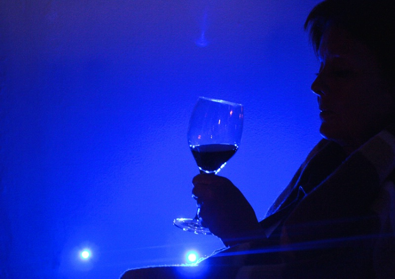 Blue Mood With a Glass of Wine