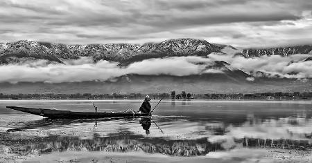A Fisherman in Dal Lake