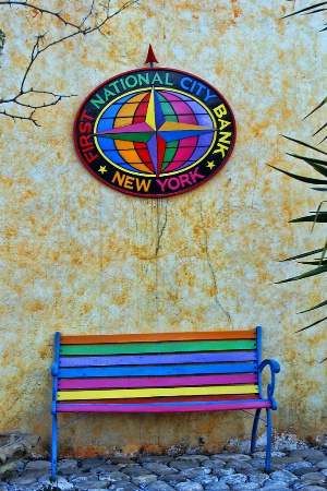 A COLORFUL BENCH