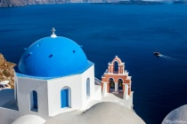 Church,Bell tower and Aegean Sea