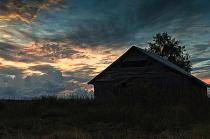 Old Barn House On An Early Autumn Night