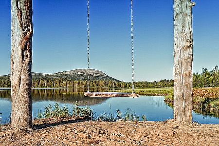 Wooden Swing By A Lake