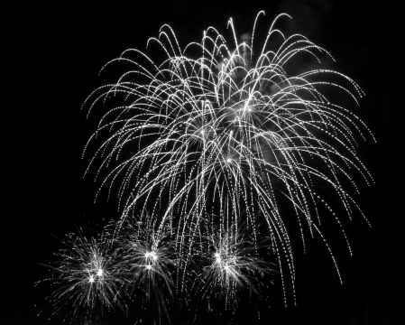 fireworks in b&w