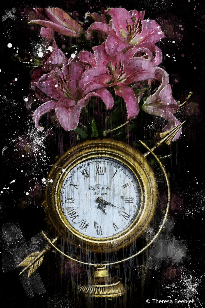 Clock and Flowers - Artistic Flare