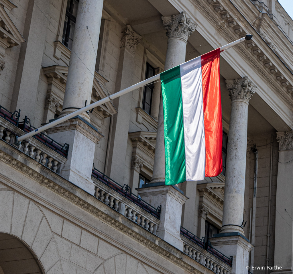 The Hungarian Flag in the sun.