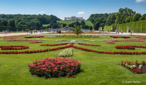 view of the garden from the Schoenbrunn Palace