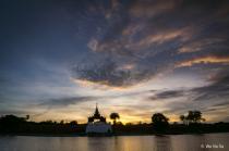 Sunset over Mandalay moat.