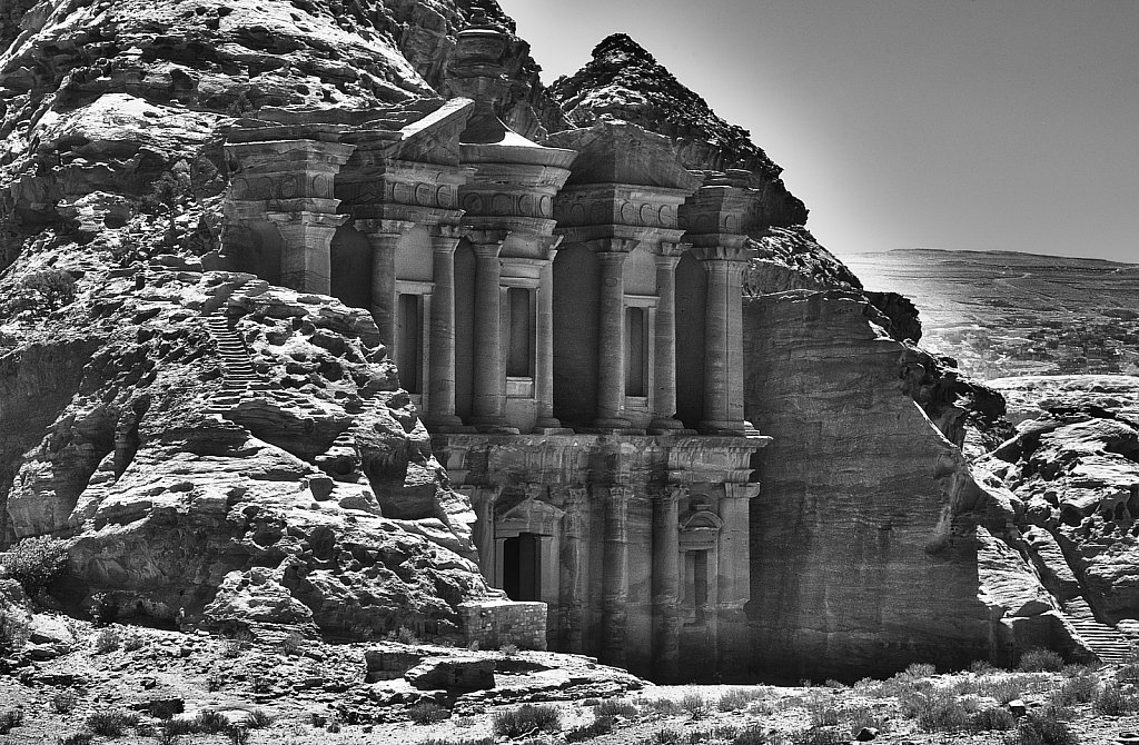 The Monastery at Petra Monochrome
