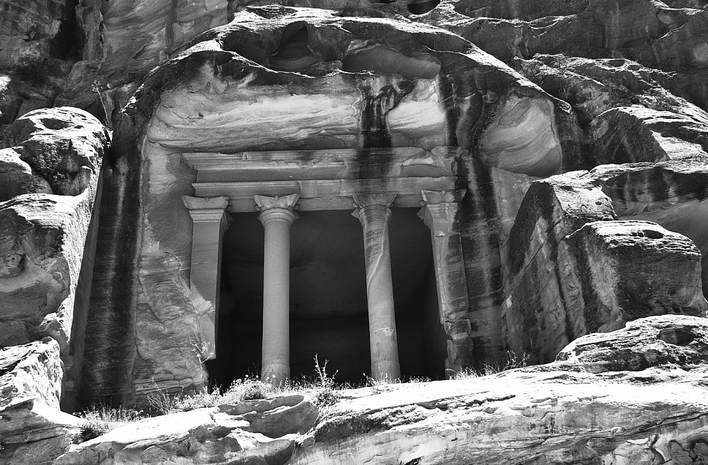 Carved Columns at Petra in BW