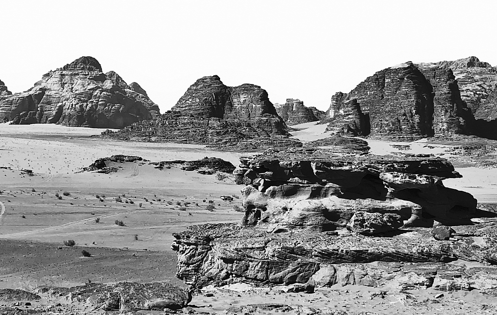 Desert Formations at Wadi Rum in BW