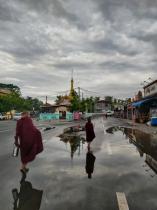 Pagoda and monks.