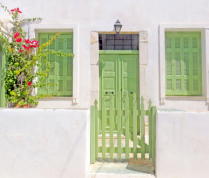 Aegean island home entrance.