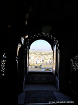 Arched window view