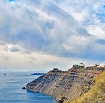 Village on volcanic  hill.Oia, Santorini.